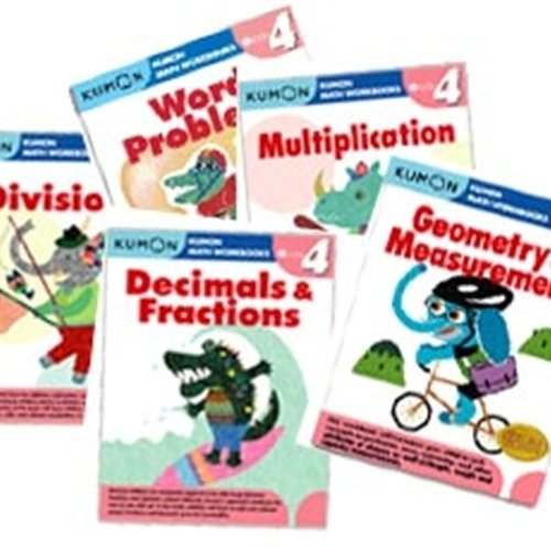 Kumon Grade 4 Math workbooks (5 books) - Decimals & Fractions, Multiplication, Division, Geometry & Measurement and Word Problem