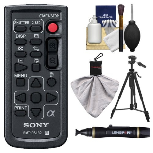 Sony RMT-DSLR2 Wireless Remote Shutter Controller for Sony Alpha Cameras with Tripod + Cleaning & Accessory Kit for Alpha A33, A55, A57, A65, A77, A99, NEX-5/5N/5R, NEX-6, NEX-7 ()