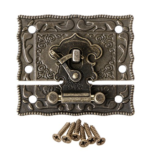 Goodqueen 55mmx47mm Vintage Style Latch Wooden Box Hasp Pad Chest Lock Bronze Tone Antique for