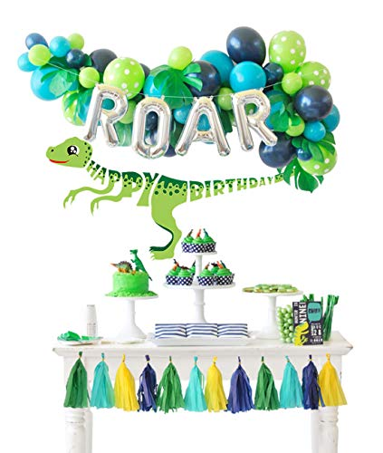 ations Balloons Garland Kit with ROAR Foil Balloon and Little Dino Happy Birthday Banner for Boys 3 4 Birthday Party Baby Shower Decor ()