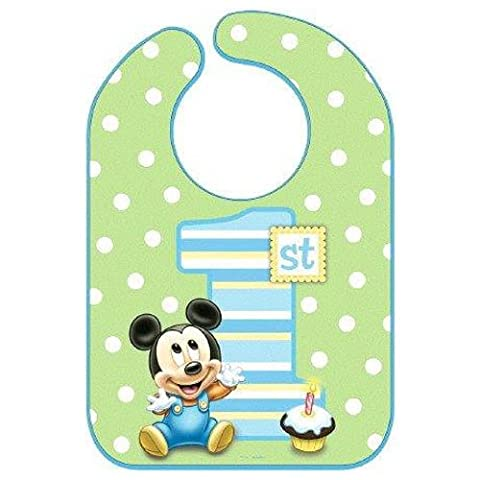 Disney Baby Mickey Mouse 1st Birthday Green Polka Dotted Baby Bib Party Accessory, Vinyl, 13