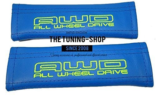 The Tuning-Shop Ltd 2X Seat Belt Covers Pads Shoulder Blue Leather Lime Green All Wheel Drive Edition For All 4X4 And Subaru 22Cm X 6Cm