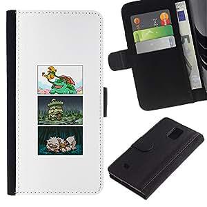 KLONGSHOP // Tirón de la caja Cartera de cuero con ranuras para tarjetas - COMIC POKE JAPONÉS - Samsung Galaxy Note 4 IV //