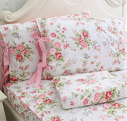 Abreeze Flowers Roses Cotton Fitted & Flat Bed Sheet, Cheap Bedding Sets, Queen Size Pink