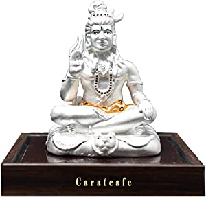 PRD CARATCAFE Lord Shiva Bholenath Shankar God Idol Sterling Silver 999 Statue for Puja Temple Good Luck and Home Decor for Men and Women (Net Weight 42-45 GMS Silver)