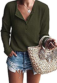 Jhsnjnr Women's Henley Shirts Knit Long Sleeve Button Up Waffle Warm Pullover Tunic