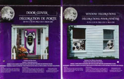 Halloween Decorations Spirit (Bundle: 1 Creepy Ghost Door Cover and 2 Evil Spirit Window Cover Scary Haunted House Set of Halloween Decorations by Greenbrier International)