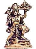 KRIWIN Shree Hanuman Idol 236 Grams (Brass & Ashtadhatu) Antique Gold Finish Standing Pose