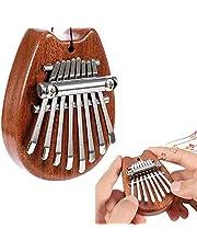 Mini Thumb Piano,8 Key Mini Kalimba Exquisite Wooden Portable Finger Thumb Piano Marimba Musical Good Accessory Pendant Gift