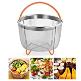 6 Quart Steamer Basket, Instant Pot Food-Grade Stainless Steel Pressure Cooker Accessories Strainer Silicone Covered Handle Non-Slip Legs Great Steaming Vegetables Fruits Eggs