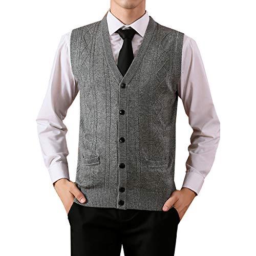 Grey V-neck Sweater Cashmere - Fange Mens V-Neck Jacquard Vest Knitwear Sweater Waistcoat with Front Button Light Gray L