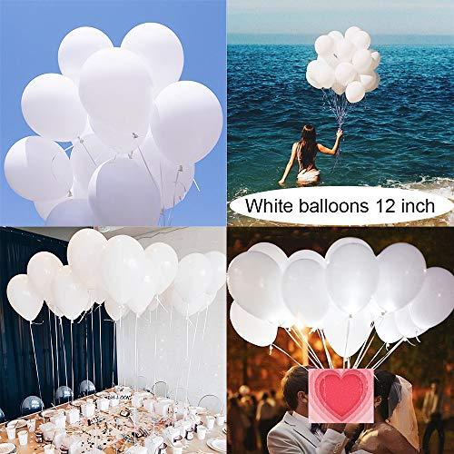 (Latex White Balloons for Party 100 pcs 12 inch Macaron White Balloons for Baby Shower Birthday Wedding Engagement Anniversary Christmas Festival Picnic or Any Friends & Family Party Decorations)
