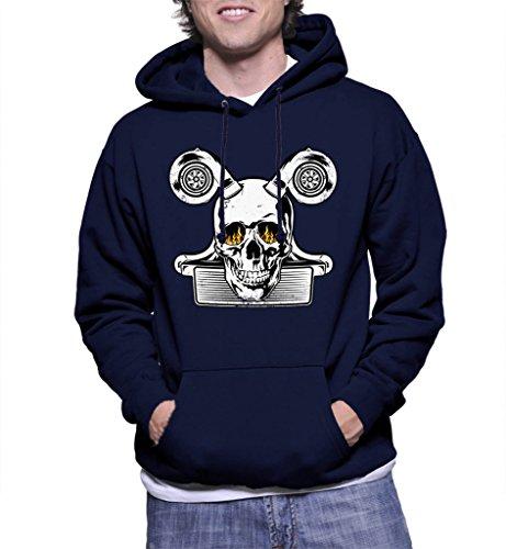 HAASE UNLIMITED Mens Burning Eye Skull Turbo Engine Hoodie Sweatshirt (XL, NAVY...