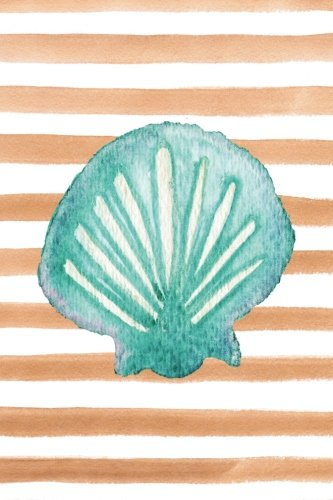 (Scallop Shell Watercolor Stripe Journal: Blank Sketchbook Artist Notebook with Unlined Drawing Paper (Coastal Beaches & Nautical))