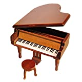 Retro Wind-Up Wooden Piano Musical Box,Wooden Simulation Gift Music Box,Edelweiss Musical Box,with Gold-plating Movement in,Wood