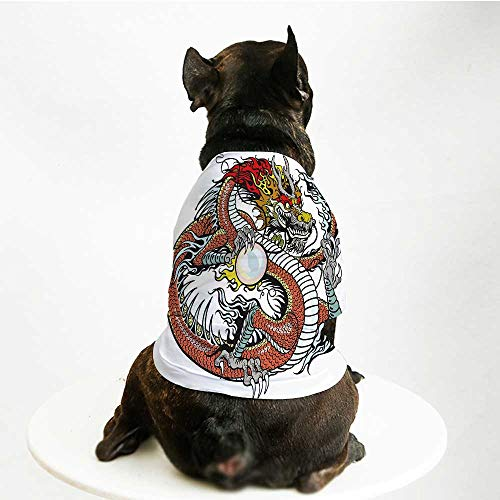 ion Pet Suit,Traditional Chinese Creature Holding A Large Pearl Zodiac Signs Folk Tattoo Graphic Decorative for Cats and Dogs,S ()