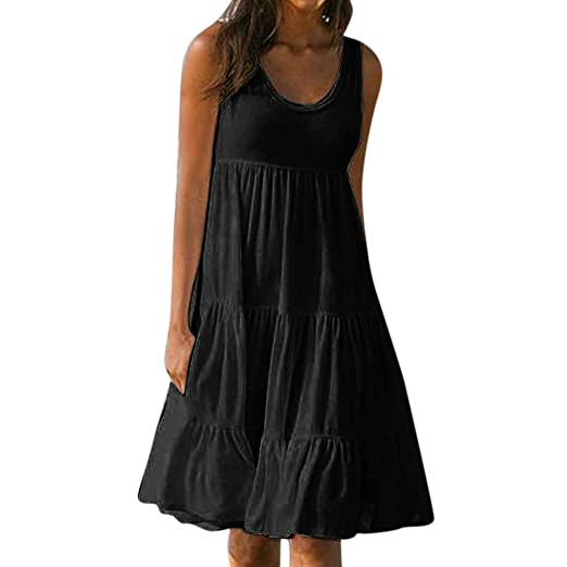 Womens Casual Sleeveless Loose Plain Pleated Dress Solid Swing T-Shirt Tank  Dresses Plus Size S-5XL