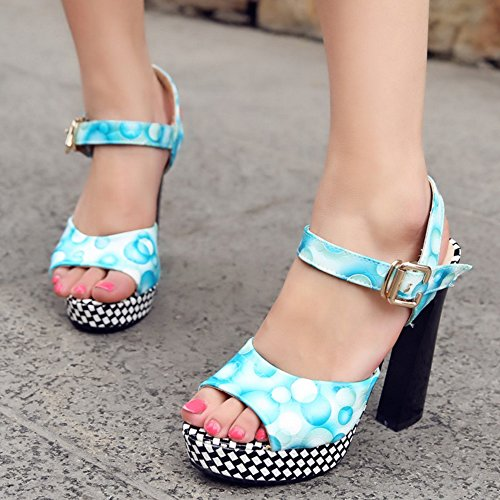 COOLCEPT Mujer Clasico Plataforma Tacon Ancho Sandalias Floral Slingback Tacon Alto Zapatos Azul