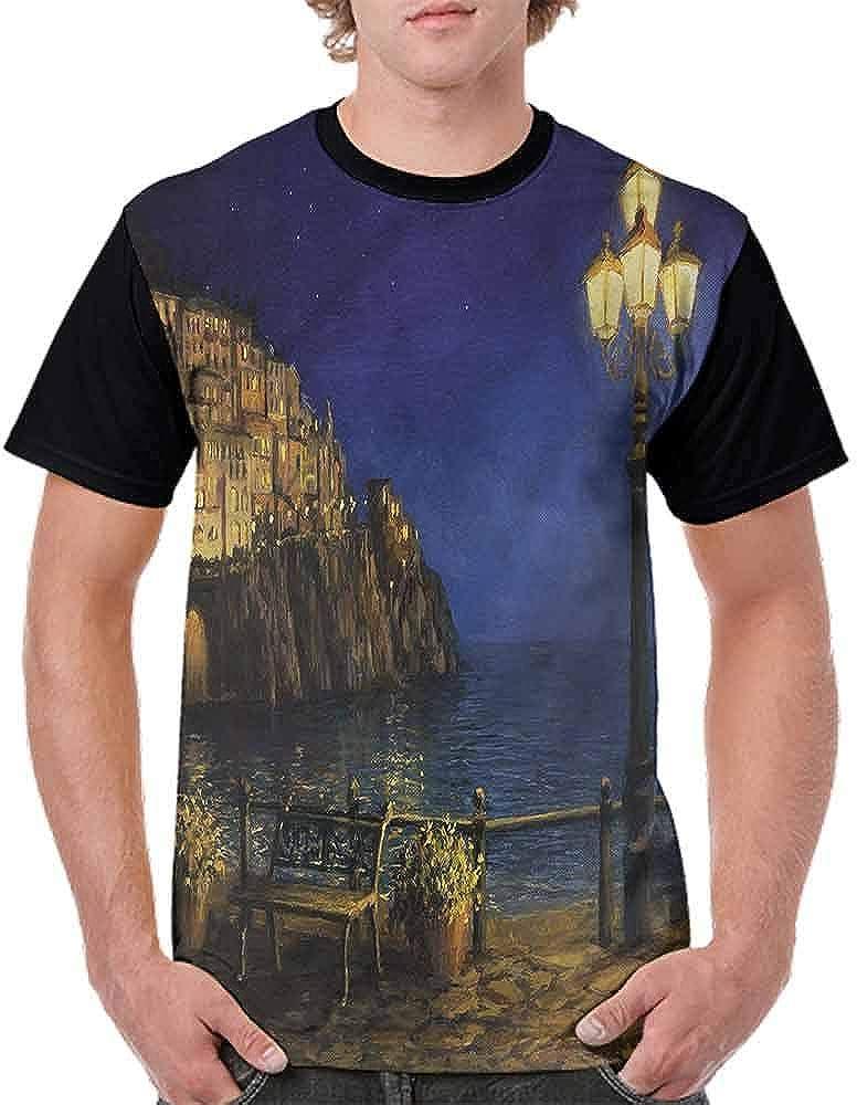 BlountDecor Loose T Shirt,Place of Miracoli Complex Fashion Personality Customization