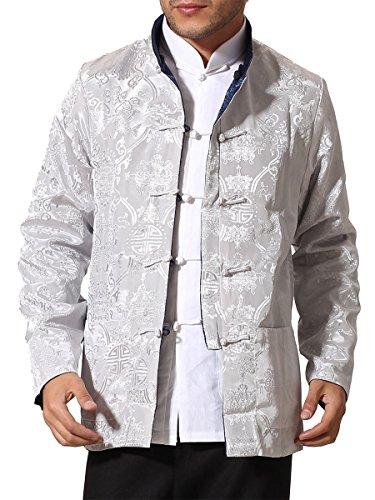 Bitablue Men's Auspicious Reversible Chinese Shirt (XX-Large, Navy Blue/Grey)