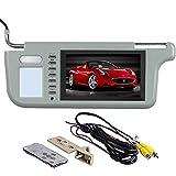 GGTFA Driver Side Sunvisor Rear View Mirror Monitor Sun Visor 2 Video Input for Car Camera GPS TV DVD Grey