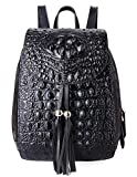 PIFUREN Women Fashion Genuine Leather Backpacks Crocodile Bag (E76810, Black)