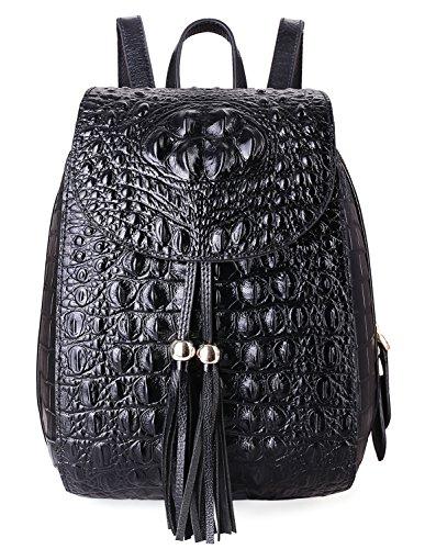 PIFUREN Women Fashion Genuine Leather Backpacks Crocodile Bag (E76810, Black) by PIFUREN