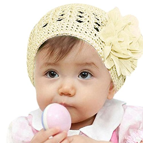 Gbell Baby Girl Flower Bonnets Crochet Beanies Headwear Hat for Toddlers Infant 3 Month-3 Years Old