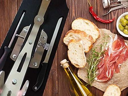 Jamonero Giratorio Basculante Profesional Inoxidable - Incluye Cuchillo de Corte Gran Precisión y Chaira Incorporados