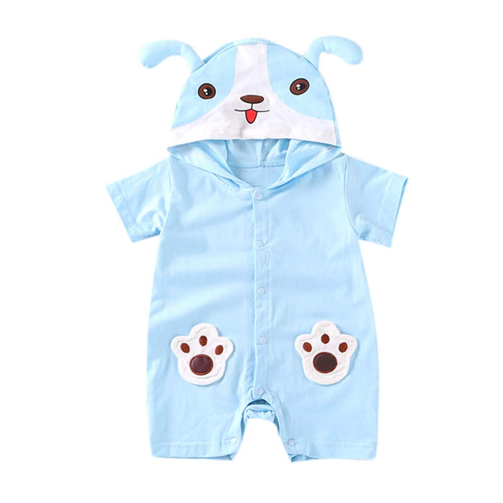 NUWFOR Newborn Baby Boy Girls Cartoon Hoodie Infant Rompers Jumpsuit Outfits Clothes(Blue,0-6 Months