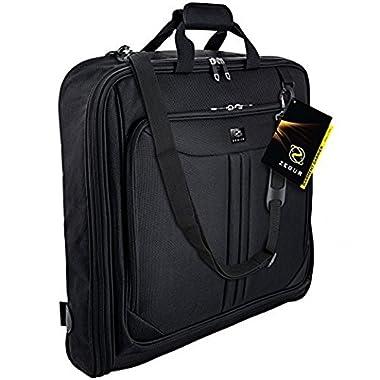 ZEGUR Suit Carry On Garment Bag for Travel & Business Trips With Shoulder Strap (Black)