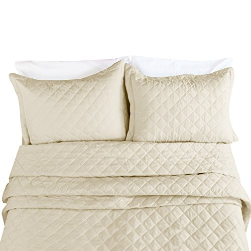 Clara Clark Luxury and Soft Coverlet Quilt Set with Shams All-Season Lightweight Bedspread, Queen, Beige Cream, 3 Piece