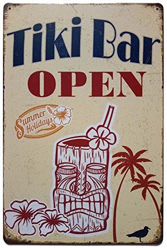 ERLOOD Tiki Bar Open Summer Holidays Vintage Metal Tin Sign Poster Home Plaque Poster Wall Art Pub Bar Decor 12 X 8 -