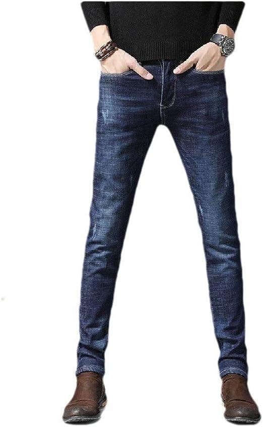 AngelSpace メンズポケットソリッドカラーミッドウエストホールファッションウォッシュフリースジーンズパンツ