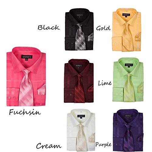 Georges Geometric Pattern Fashion Dress Shirt With Woven Tie and Hankie AH623