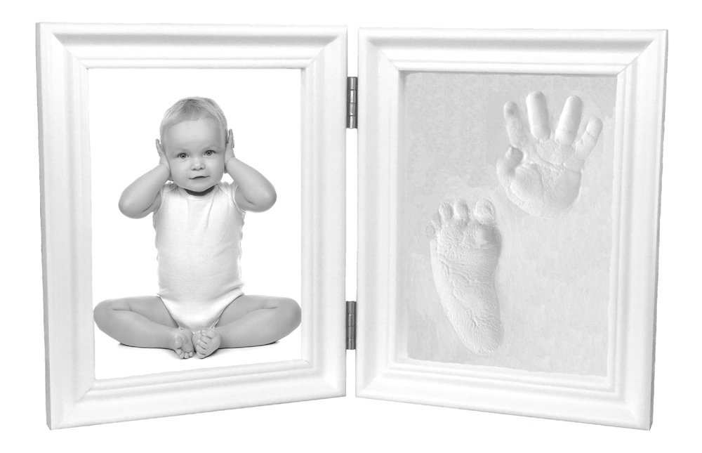 Proud Baby Hand Print and Footprint Air Drying Stone Clay Bi-Fold Quality Wood with Glass Photo Frame Gift Set (White)