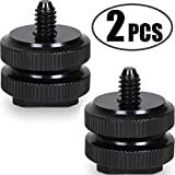 "Camera Hot Shoe Mount to 1/4""-20 Tripod Screw Adapter Flash Shoe Mount for DSLR Camera Rig (Pack of 2)"