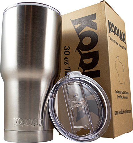 Kodiak Coolers Vacuum Insulated Tumbler Two Lids - Stainless Steel Double Wall - Thermal Coffee Travel Cup Rambler Mug - Thermos BPA Free - Compare to Yeti - Hold Ice 24 Hours (Stainless 30)
