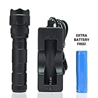 OREI Professional Flashlight Ultra Bright Tactical Led with Rechargeable Lithium Battery - Charger Included