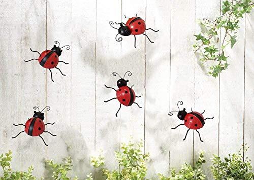 starbluegarden 5pcs/Set Metal Ladybug Decor,Wall Art Ladybug Outdoor Garden Decor (10cm)