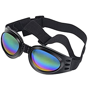 Dog Sunglasses Protective Eyewear Pet Goggles With Adjustable Head & Chain Strap for Medium to Large Dog (black)