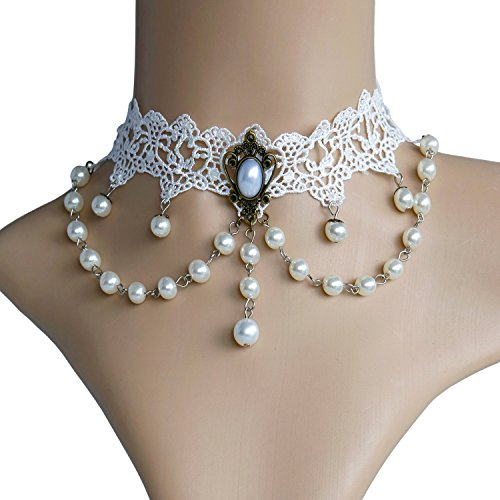 Eternity J. Vintage Victorian Palace Pearl Princess Elegant Pendant Choker for 80s 90s Costume Party