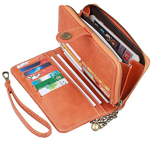 Women Wallets,Vintage Ladies PU Leather Wallets,Long Trifold