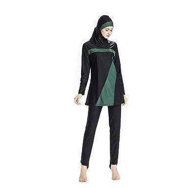 b29d4fcfb61 Moonface Women Swimming Suit, Muslim Women Swimwear Islamic Swimsuit Hijab Swimwear  Full Coverage Swimwear: Amazon.in: Clothing & Accessories