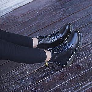 KAOKAOO Women's Martin Boots Leather Flat Lace Shoes (Black-Lable 35/4.5 B(M) US Women)