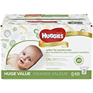 HUGGIES Natural Care Baby Wipes, Refill Pack (648  Sheets Total), Fragrance-free, Alcohol-free, Hypoallergenic