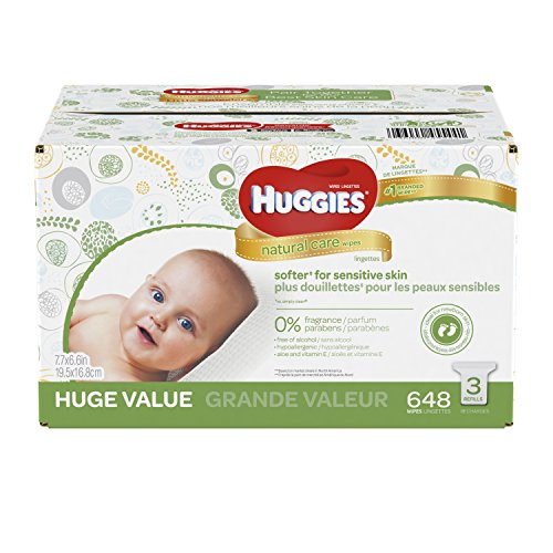 HUGGIES Natural Care Unscented Baby Wipes, Sensitive, 3 Refill Packs, 648 Count Total