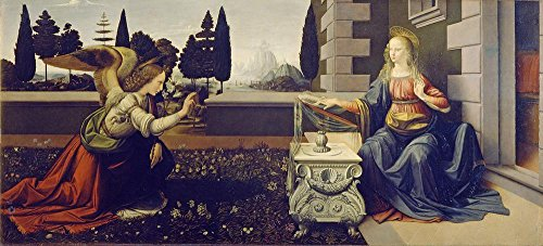 (LAMINATED 53x24 inches POSTER: The Annunciation Leonardo Da Vinci Virgin Mary Angel Gabriel 1472-1475 Annunciation Art Project Uffizi Gallery Florence Italy Reading Bible Oil Painting)