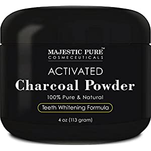Teeth Whitening Charcoal by Majestic Pure - Natural Teeth Whitening with Coconut Activated Charcoal, Non Abrasive, 4 oz
