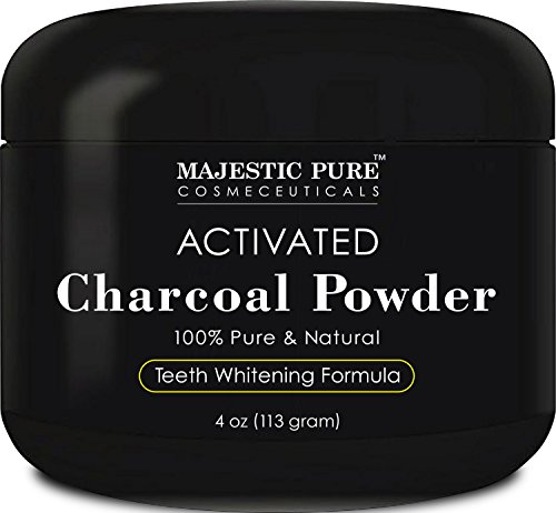 Majestic Pure Teeth Whitening Activated Charcoal Powder - Natural Teeth Whitener with Coconut Charcoal, 4 oz